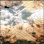 Tripode ding en bronze incisé de motifs, dynastie Han